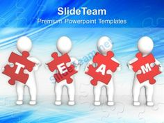 3d Persons Holding Red Puzzle Pieces Powerpoint Templates Ppt Themes And Graphics 0113 #PowerPoint #Templates #Themes #Background