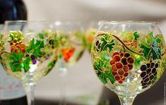 Купить Набор бокалов для вина «Виноградная лоза» - Витражная роспись, роспись виноград, виноградная лоза