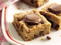 Chocolate-Stuffed Peanut Butter Brownies. I love Reece's Peanut Butter cups so I bet these would be very yummy.