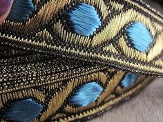 Celtic Chain Metallic Jacquard Ribbon in TEAL and GOLD