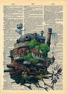 Howls Moving Castle Original Studio Ghibli Print on by AvantPrint, $7.00  Work on top of current event