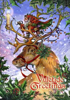 """Inside features a wintry scene and reads: """"Yuletide Wishes"""" in five languages. Size: 4 .75"""" x 6.75"""" (121 x 171mm)"""