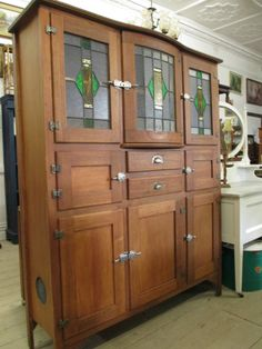 Antique Restored Leadlight Cupboard Cabinet Kitchen Dresser Meatsafe Large