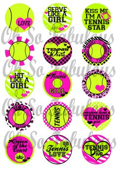 Tennis Diva Girly Bottle Cap Images Digital by OhSoFabulous, $2.00