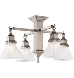 The Stuart. A  compact Mission-style chandelier in Brushed Nickel. Versatile!