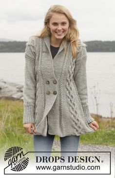 "Knitted DROPS jacket with cables and shawl collar in ""Karisma"". Size: S - XXXL. ~ DROPS Design free pattern"