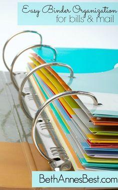 Easy Binder Organization for Bills & Mail debt management, debt payoff #debt