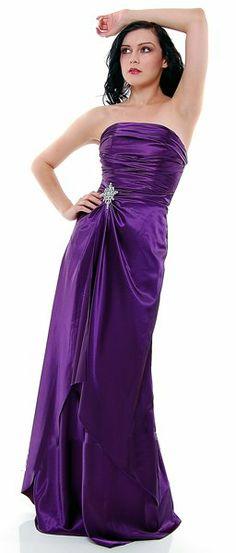 Long Strapless Eggplant Bridesmaid Dress Prom Satin Rhinestone Pleated Bodice