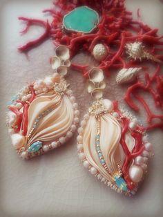 "Designed by ""Serena Di Mercione Jewelry"" Jewelry Design Earrings, Beaded Earrings, Jewellery Designs, Unique Jewelry, Handmade Jewelry, Earring Tutorial, Arts And Crafts, Art Crafts, Shibori"