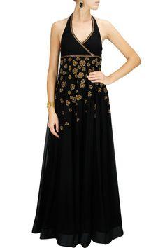 CLASSIC CONTRASTS : Black flowers embroidered halter dress by Joy Mitra. Shop now at www.perniaspopups... #joymitra #designer #fashion #couture #shopnow #perniaspopupshop #happyshopping