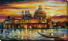 The Golden Skies of Venice by Leonid Afremov Painting Print on Wrapped Canvas