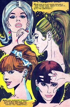 Vintage Fashion and Beauty Comic Kunst, Comic Art, Comic Books, Vintage Comics, Vintage Ads, Illustrations, Illustration Art, Vintage Hairstyles, 1960s Hairstyles