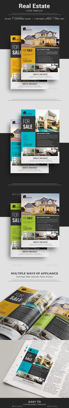 Real Estate Flyer Template + #RealEstateMagazineAdTemplate | 2 Layout+ 3 Color Versions | Instant Download  http://graphicriver.net/item/real-estate-flyer/16449832?ref=themedevisers