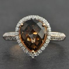 Pear+Shaped+Smoky+Quartz+and+Diamond+Ring+$1,105.00