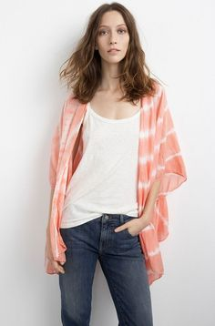 VELVET by Graham & Spencer Fatima Tie Dye Silk Kimono Cardigan Shawl Coral S #Velvet #Cardigan #SummerBeach