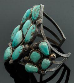 Turquoise Navajo Bracelet Large Sterling