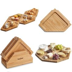 VonShef Jigsaw Platter Cheese Board with Display Stand, Natural Bamboo Wooden Charcuterie and Meat Serving Boards, 4 Connecting Coaster Plates Included, X X Inches Slate Cheese Board, Cheese Board Set, Diy Wood Projects, Wood Crafts, Diy And Crafts, Slate Coasters, Wooden Coasters, Charcuterie, Tapas Platter