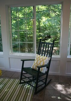 green rocking chair in the sunroom - with open window slider! Screened Porch Designs, Screened Porches, Porch Roof, Slider Window, Open Window, Sunroom Windows, Tall Windows, Four Seasons Room, 4 Season Room