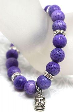purple sponge coral, silver rondelles and Buddha charm stretch bracelet