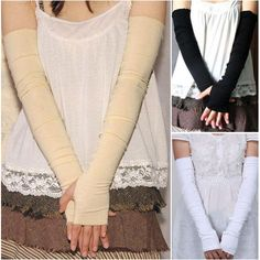 "21""LONG STRETCH SATIN BRIDAL WEDDING PROM PARTY COSTUME OPERA FINGERLESS GLOVES"