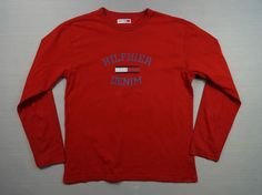 Tommy Hilfiger Denim Men s Vintage T-Shirt Top Size M Red Cotton Made in India