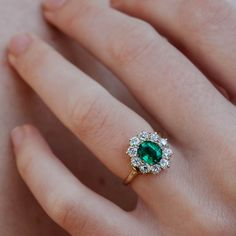 Engagement Ring Vintage Victorian cluster engagement ring is set with a carat oval-cut emerald surrounded by 10 old European-cut diamonds weighing approximately carats total. Set in yellow gold. Emerald Wedding Rings, Wedding Rings Vintage, Vintage Rings, Wedding Jewelry, Emerald Rings, Emerald Ring Vintage, Emerald Diamond, Halo Diamond, Gold Wedding