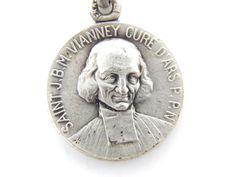RARE Vintage Saint Therese - Saint John Vianney Cure d'ars Catholic Medal - M51 by LuxMeaChristus on Etsy