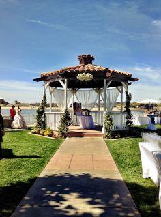 Newport Dunes Bridal Show 2013  #flowers #ceremony #gazebo #pretty #weddings #brides #bridal #beach #beachwedding #blue #green