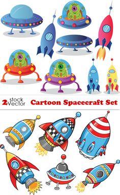 Космический корабль - детские векторные рисунки. Cartoon Spacecraft Set