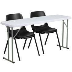 Black, White folding table set RB-1860-2-GG