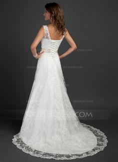 A-Line/Princess V-neck Court Train Satin Lace Wedding Dress With Sash Beading Flower(s) (002000187)