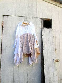 boho lagenlook romantic dress / Upcycled clothing / by CreoleSha, $92.00
