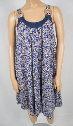 FRENCH CONNECTION Floral Denim Trim Summer Sun Dress 2 XS 100% Cotton Flare