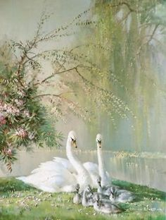 """""""Family in the Park"""" by Vernon Ward, aka Vernon Beauvoir Ward Prolific English Painter & Commercial Artist known for his Works of Flowers & Birds ."""