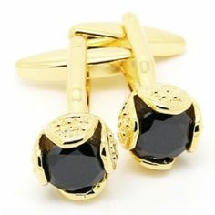 Gold Crystal Square Cufflinks