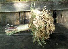 Rustic Ivory & Sage Woodland Wedding Bouquet Cedar Rose