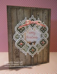Stress-Free Stamping with Shana: The Stamp Review Crew: Mosiac Madness Edition, card, Christmas, hardwood, wreath