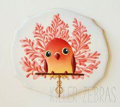 Bird - Killer Zebras - Original art by Britney Lee Bird Cookies, Paint Cookies, Edible Cookies, Spice Cookies, Sweet Cookies, Flower Cookies, Cute Cookies, Easter Cookies, Cupcake Cookies