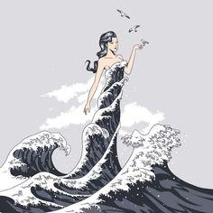 Wave Dress by Flying Mouse 365 aka Chow Hon Lam Art Prints Mermaids And Mermen, Inspiration Art, Merfolk, Nautical Fashion, Nautical Art, Mermaid Art, Pablo Picasso, Sea Creatures, Mythology