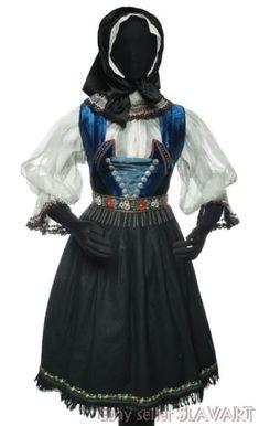 VINTAGE Slovak Folk Costume embroidered blouse vest pleated skirt apron KROJ old