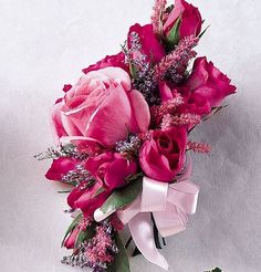Pink+Corsages+For+Prom | Our Pink bliss corsage features dark and light pink roses, finished ...