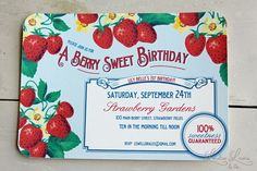 Berry party invitation by Lorlee Lewis. http://www.etsy.com/shop/LoraleeLewis?ref=seller_info
