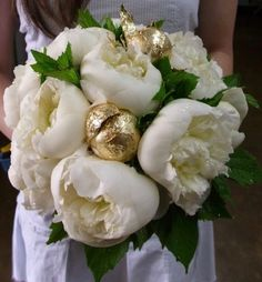 White peonies with gold dipped bulbs