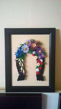 Luck/horseshoe quilling art/handmade by TreasuresOfTheEast on Etsy