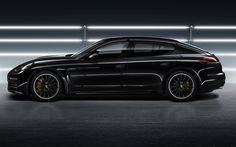 Télécharger fonds d'écran Porsche Panamera, 4k, vue de côté, noir Panamera, le réglage, les Panamera, roues noires, voitures allemandes, Porsche