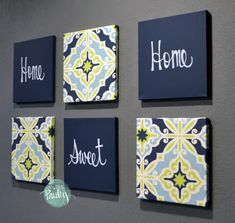 Home Sweet Home Navy & Lime Green Wall Art Pack of 6 Canvas Wall Hanging Painting Navy Home Decor Mo Wall Art Sets, Diy Wall Art, Diy Wall Decor, Art Decor, Dining Room Wall Decor, Living Room Art, Diy Canvas, Canvas Wall Art, Blue Canvas