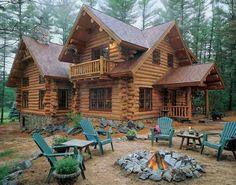 Beautiful log home and yard.
