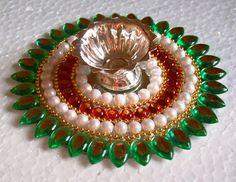 Kundan diya Old Cd Crafts, Diy And Crafts, Crafts For Kids, Thali Decoration Ideas, Decoration For Ganpati, Diwali Diya, Diwali Craft, Home Wedding Decorations, Diwali Decorations
