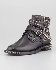 $2395 Saint Laurent Chain-Detail Ankle Boot
