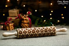 Rolling pin. Christmas gift. Christmas ideas. Embossed rolling pin